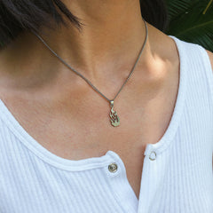 SILVER FLAME PENDANT NECKLACE