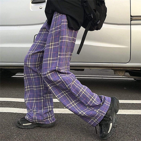 PLAID WIDE LEG PANTS