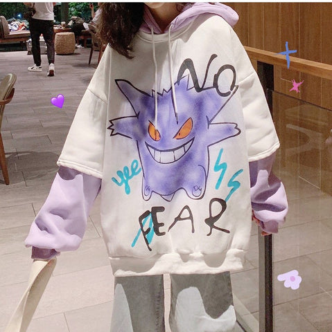 NO FAKE DEVIL PRINT FAKE TWO PIECE HOODIE