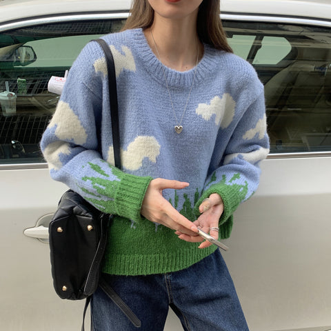 GRASS BLUE SKY AND WHITE CLOUD PULLOVER SWEATER