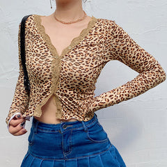 LEOPARD PRINT HEART BUTTON LONG SLEEVE CARDIGAN TOP