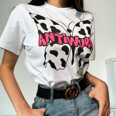 COW BUTTERFLY PRINT TEE