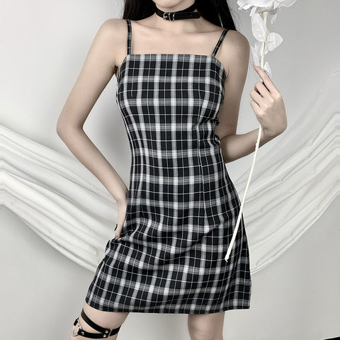 BACK ZIPPER PLAID STRAP DRESS