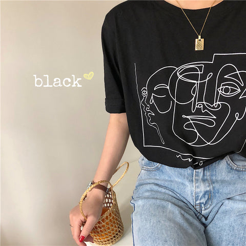 FACE OUTLINE PRINT TEE