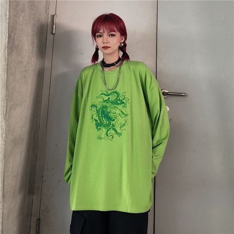 GREEN DRAGON PRINT LONG SLEEVE T-SHIRT