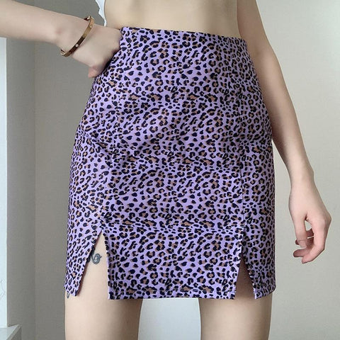 PURPLE LEOPARD SPLIT SKIRT