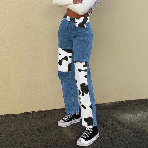 COW PRINT STITCHING STRAIGHT JEANS