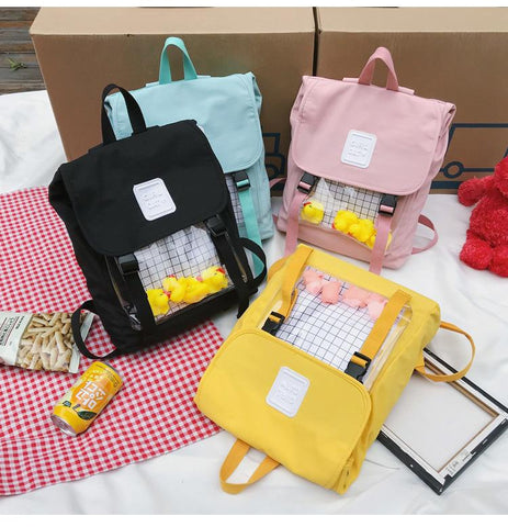 ULZZANG TRANSPARENT CASUAL BACKPACK