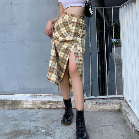 CHECKERED SPLIT MIDI SKIRT