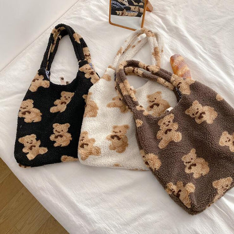 CUTE BEAR PLUSH SHOULDER BAG