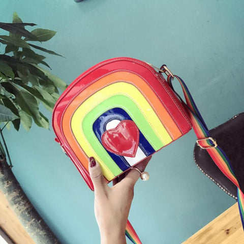 RAINBOW HEART PU BAG