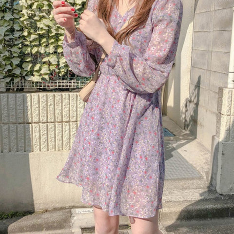 RETRO FLORAL SLIMMING WAIST LONG SLEEVE DRESS