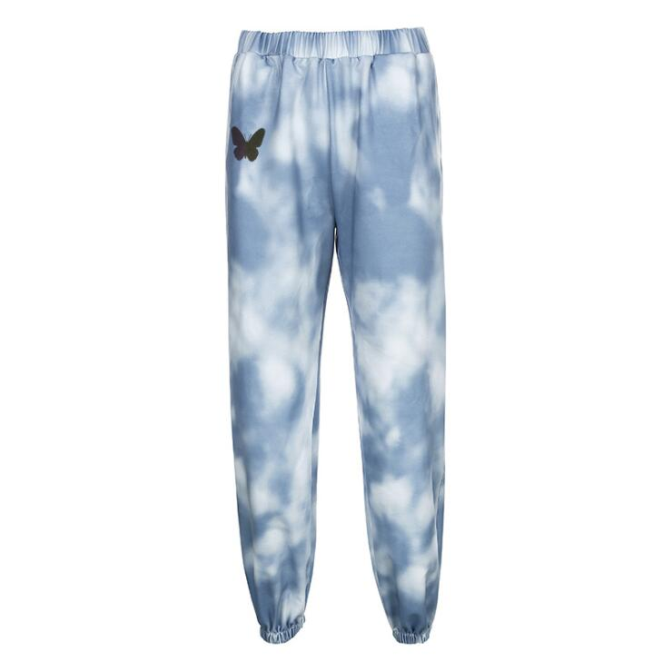 BLUE TIE-DYE BUTTERFLY PRINT CASUAL PANTS