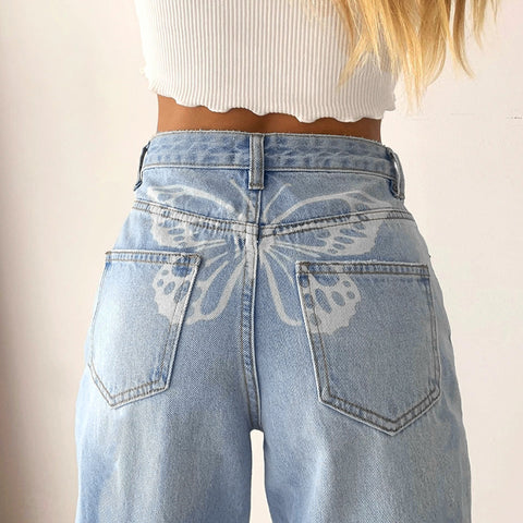 BUTTERFLY PRINT STRAIGHT JEANS
