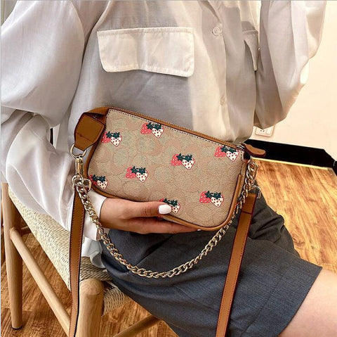 STRAWBERRY LEATHER CROSSBODY SHOULDER BAG