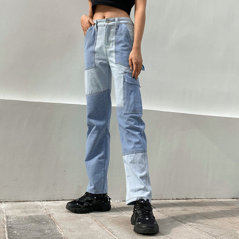 CONTRAST LARGE POCKET JEANS