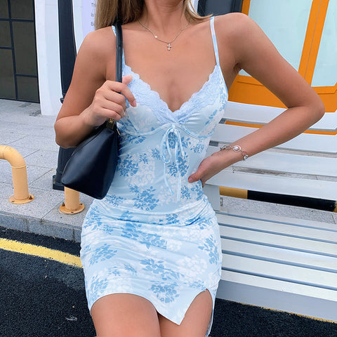 BLUE BLOSSOM SPLIT MINI DRESS