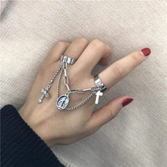 CROSS CHAIN RING