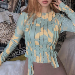FASHION PRINTED LONG SLEEVE ROUND NECK T-SHIRT