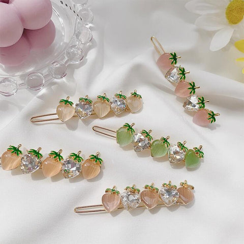 STRAWBERRY CRYSTAL HAIR CLIP (5 PCS)