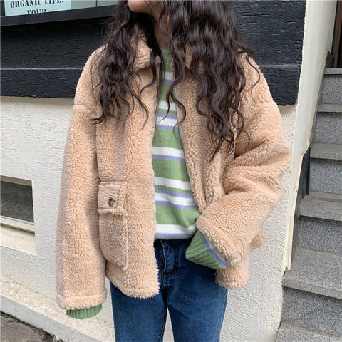 LAMB WOOL PADDED CARDIGAN JACKET