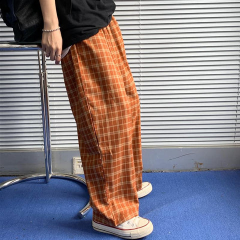 ORANGE PLAID WIDE LEG PANTS