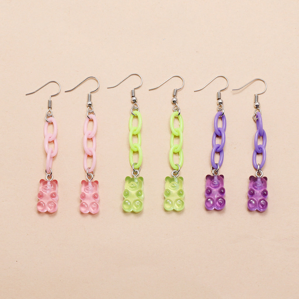 CHAIN BEAR TASSEL EARRINGS  (3 Pairs)