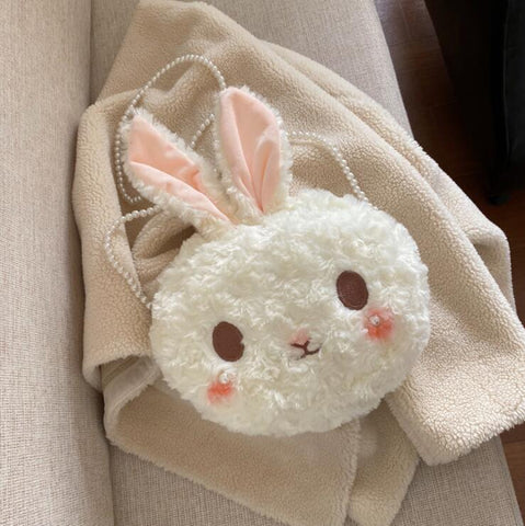 PEARL CHAIN RABBIT PLUSH BAG