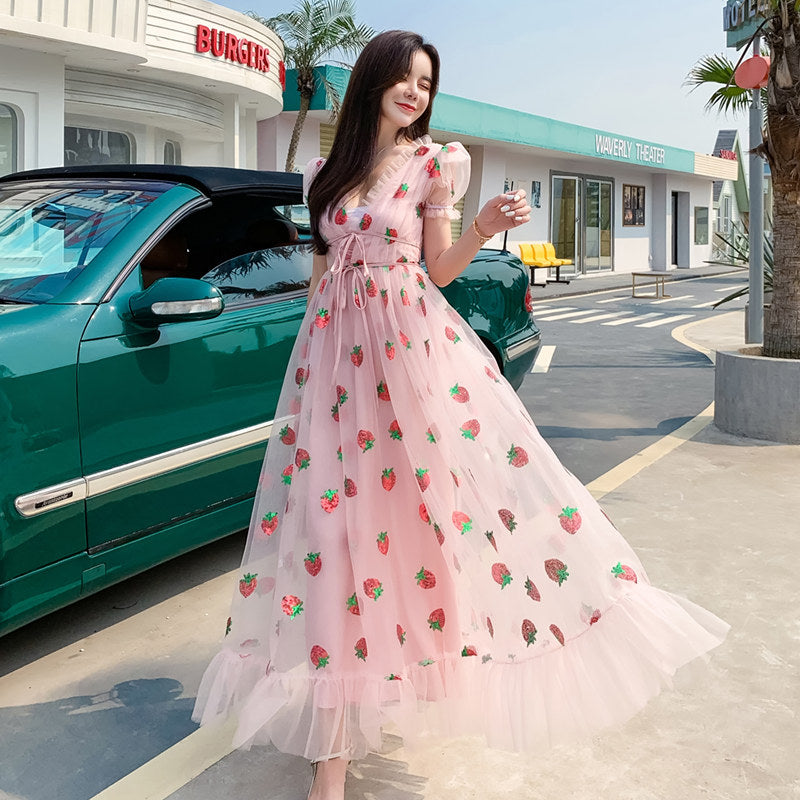 SEQUIN STRAWBERRY EMBROIDERED PUFF SLEEVE MESH LONG DRESS