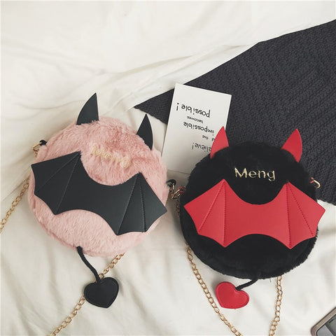 PLUSH LITTLE DEVIL CHAIN CROSSBODY BAG
