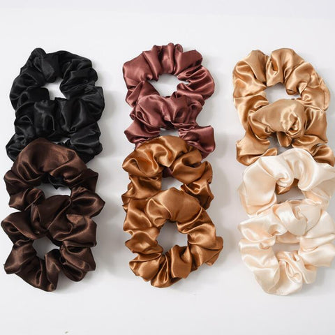 SATIN SCRUNCHIES (12 PCS)
