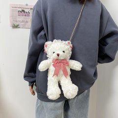 LACE PLUSH BEAR CHAIN CROSSBODY BAG