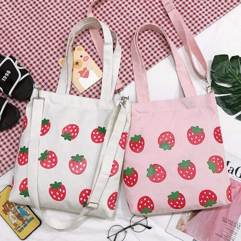 STRAWBERRY PRINT CANVAS BAG