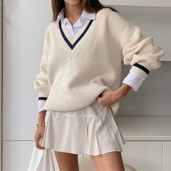SIMPLE V-NECK LONG SLEEVE KNIT SWEATER