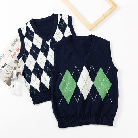 FASHION DIAMOND CHECK KNIT VEST