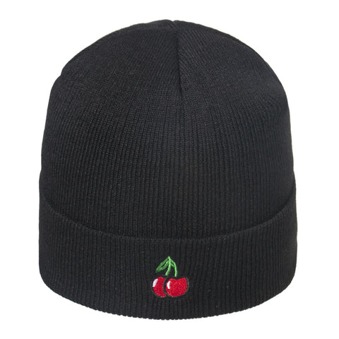 CHERRY EMBROIDERED BEANIE HAT