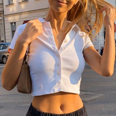 WHITE POLO COLLAR KNIT CROP TOP