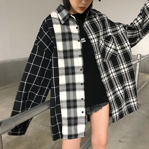 B&W COLOR MATCHING LONG SLEEVE PLAID SHIRT