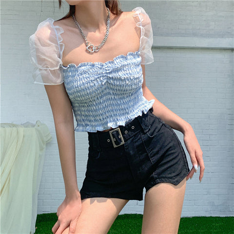 MESH PUFF SLEEVE PLEATED CROP TOP