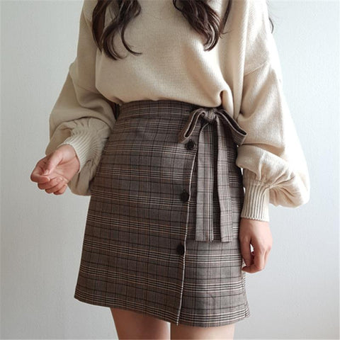 VINTAGE LACING PLAID SKIRT