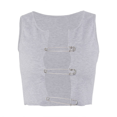 SAFETY PIN CROP VEST