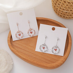 BUTTERFLY CIRCLE MICRO ZIRCON EARRINGS