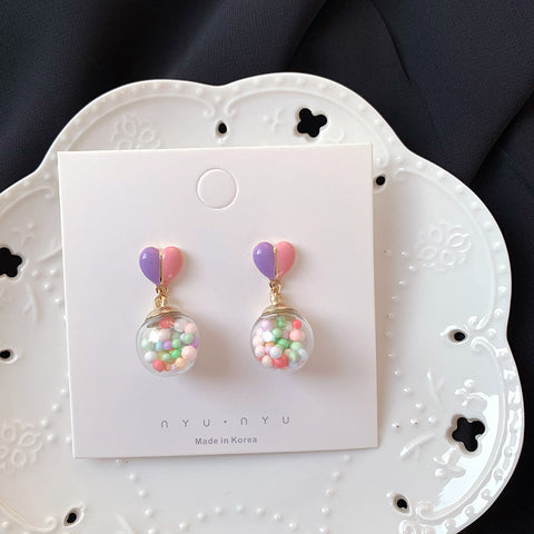 COLOR GLASS BUBBLE BALL HEART EARRINGS