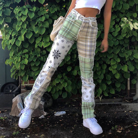 PLAID PAISLEY BANDANA PATCHWORK PANTS