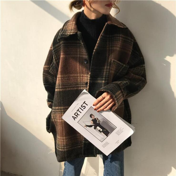PLAID WOOLEN MID-LENGTH COAT