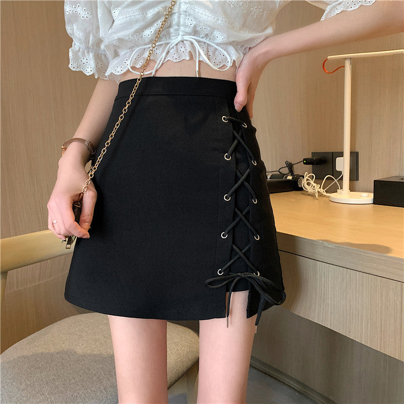 CROSS TIE UP IRREGULAR SKIRT