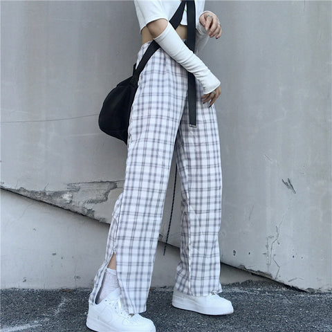 CHECK ZIPPER SPLIT STRAIGHT PANTS