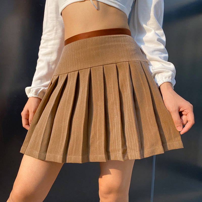 KHAKI TIE UP PLEATED SKIRT