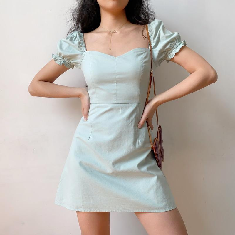 PLAIN PUFF SLEEVE MINI A-LINE DRESS