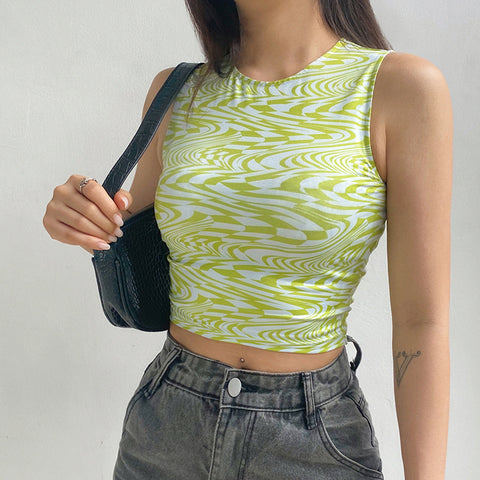 SWIRL CHECKERBOARD CROP VEST